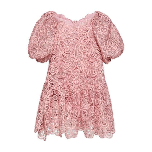 Penelope Crochet Guipure Midi Dress, Rose