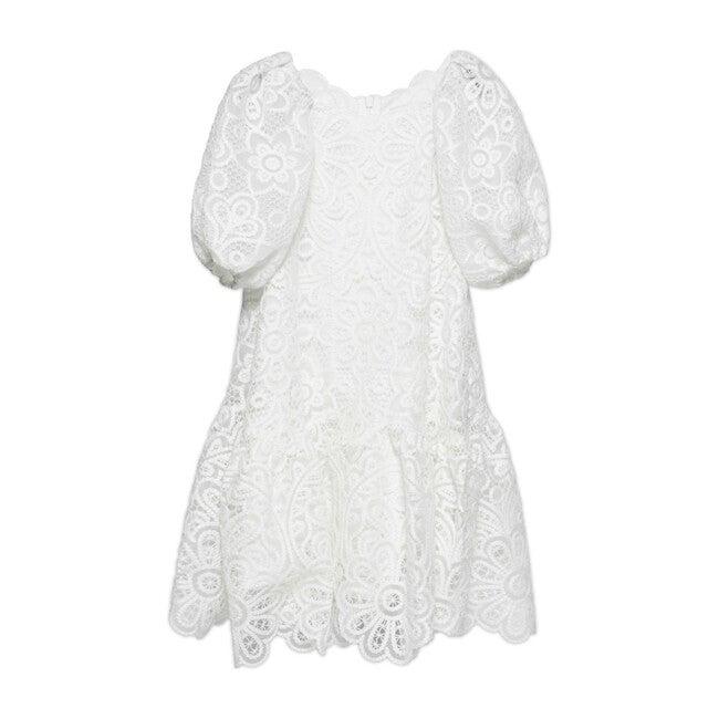 Penelope Crochet Guipure Midi Dress, White