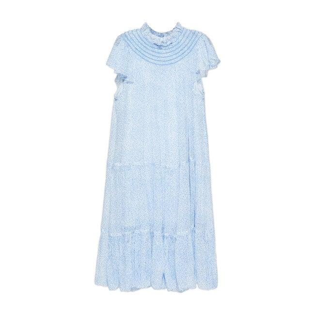 Anna Chiffon Maxi Dress, Sky Ditsy Dot