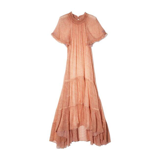 Women's Clemmie Chiffon Midi Dress, Caramel Ditsy Dot