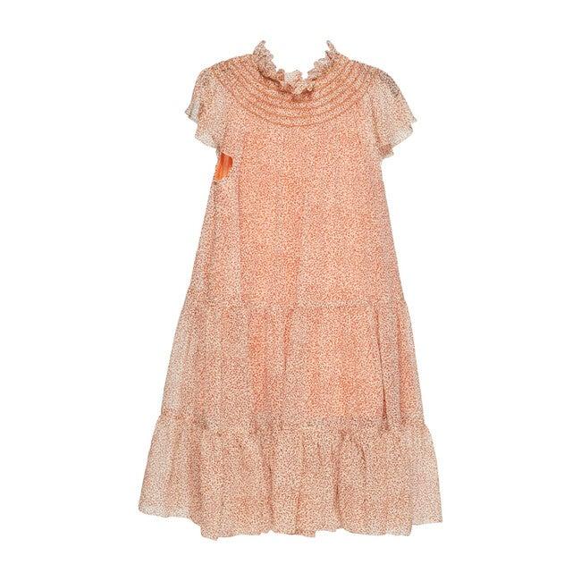 Anna Chiffon Maxi Dress, Caramel Ditsy Dot