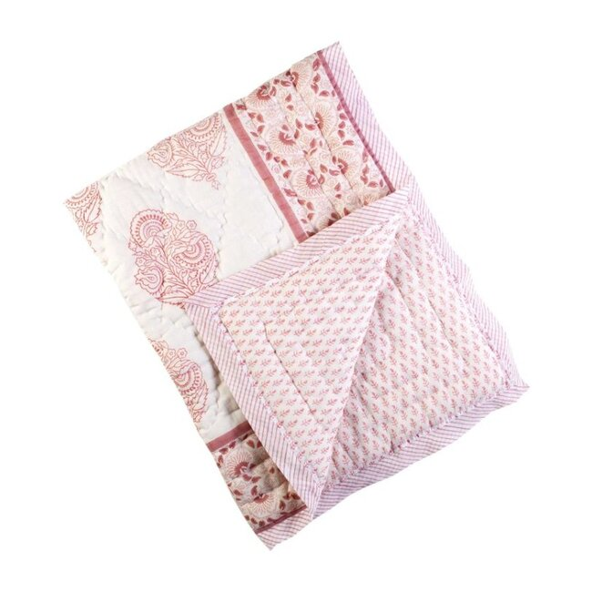 Block-Printed Cotton Quilt, Pink City