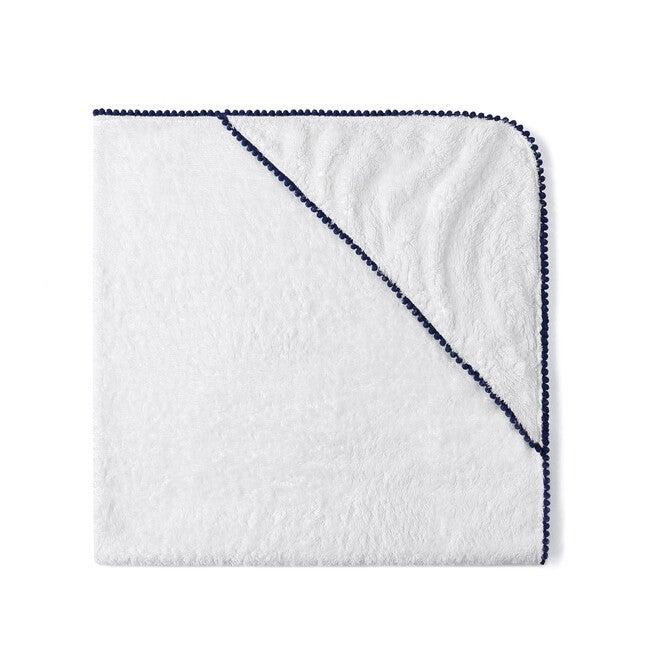 Bamboo Pom Pom Towel, Navy