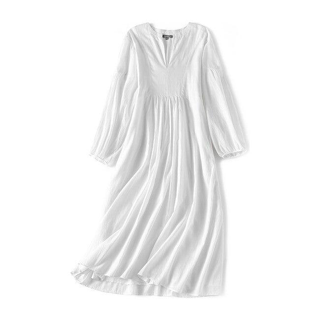 Brush-Stroked Women's Bohemian Dress, White