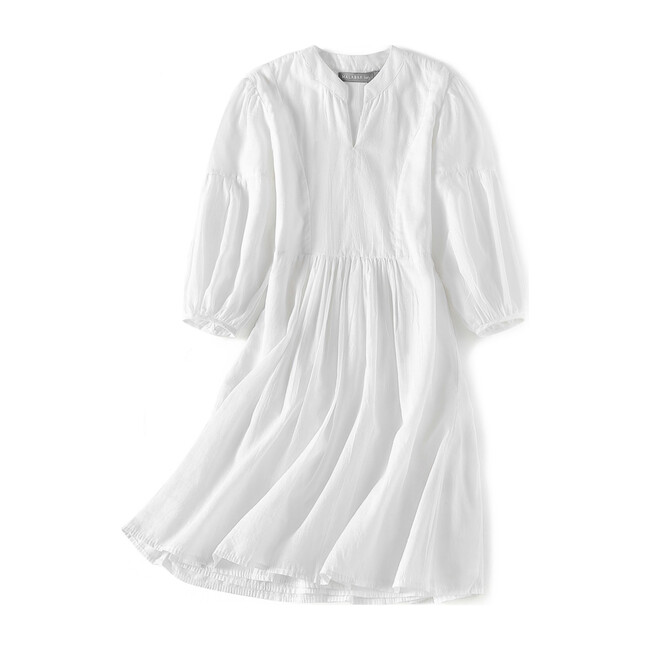 Brush-Stroked Bohemian Dress, White