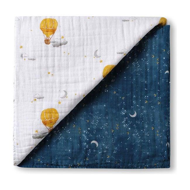 Organic Muslin Four-Layer Reversible Snug Blanket, Mystical Night