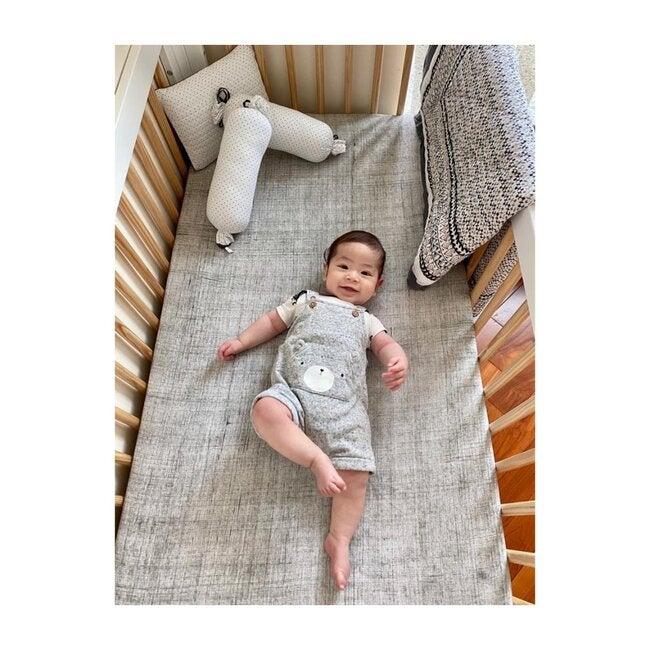 Brush-Stroked Cotton Fitted Crib Sheet, Grey Brush Stroke