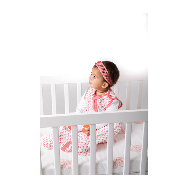 Block-Printed Cotton Fitted Crib Sheet, Pink City
