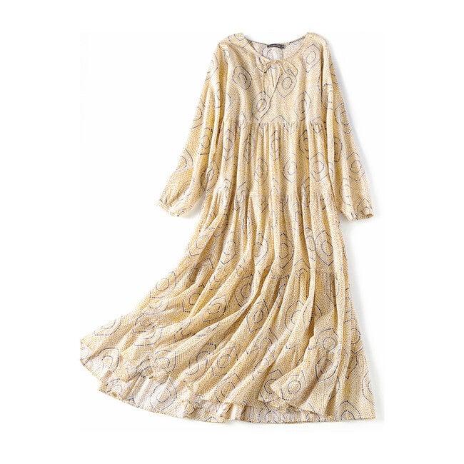 Block-Printed Women's Bohemian Dress, Yellow