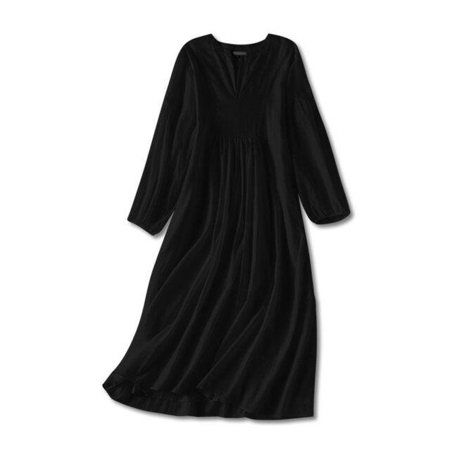 Brush-Stroked Women's Bohemian Dress, Black