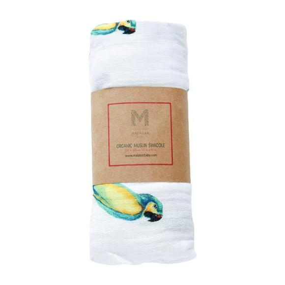 Organic Cotton Muslin Swaddle, Parrot