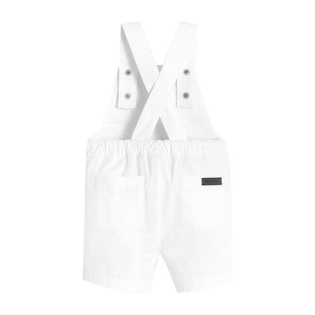Toddler Short Overalls, White