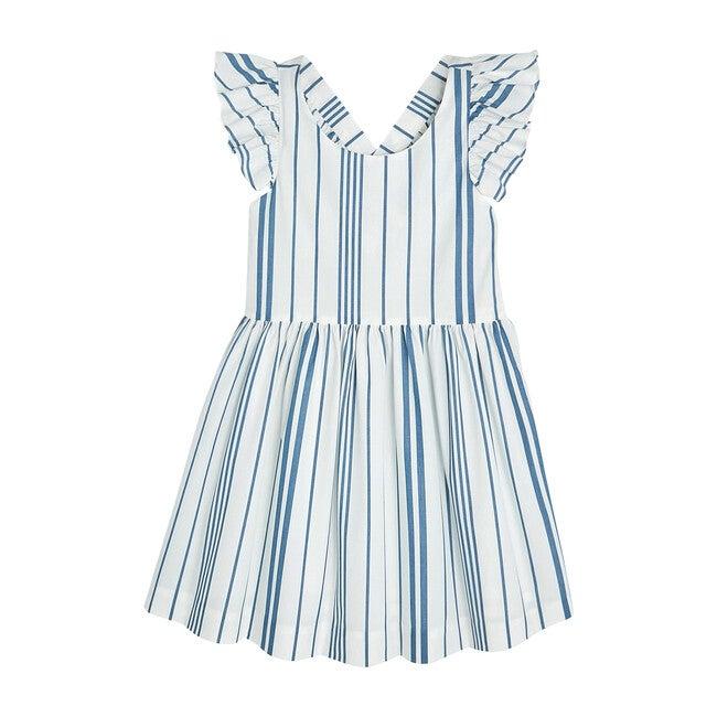 Bayadere Striped Dress, White & Blue