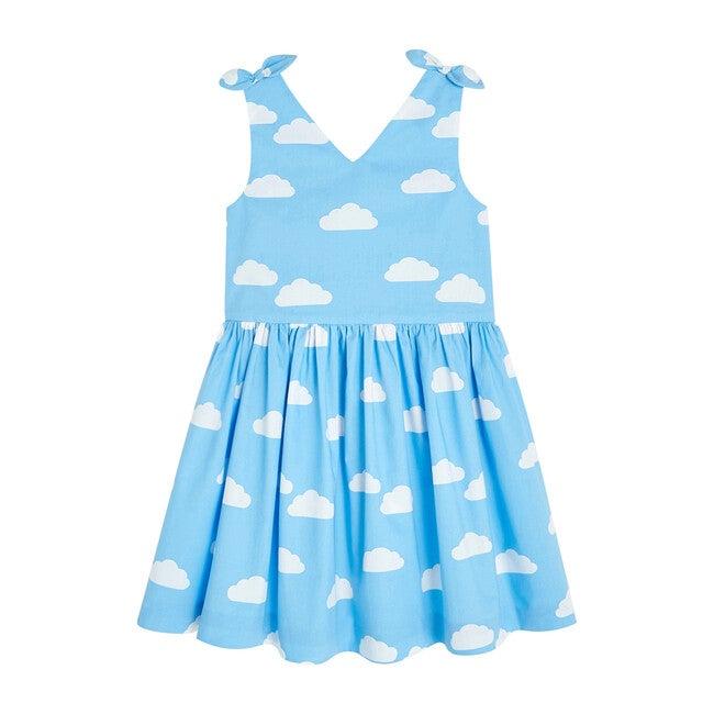 Cloud Pattern Dress, White & Blue