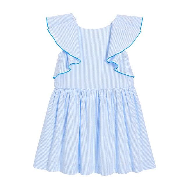 Seersucker Dress, White & Blue