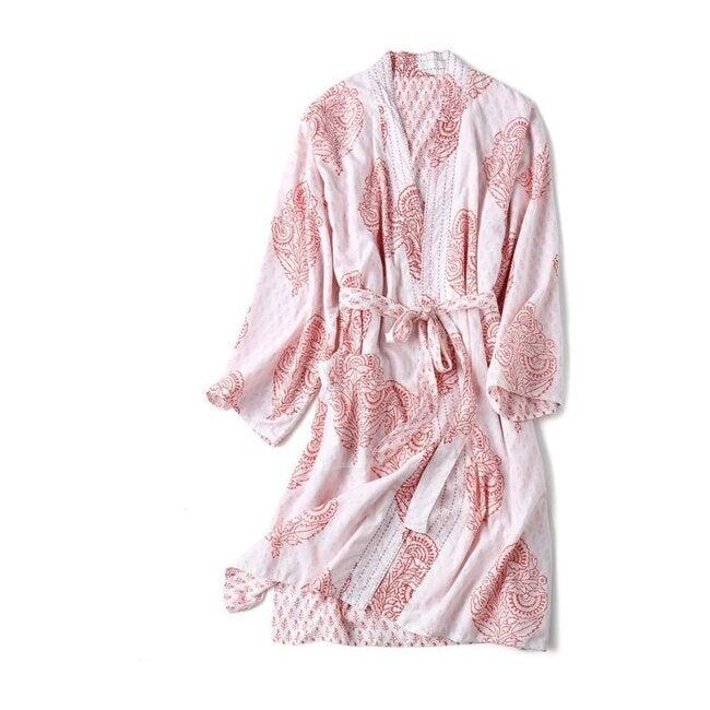 Block-Printed Cotton Women's Robe, Pink City