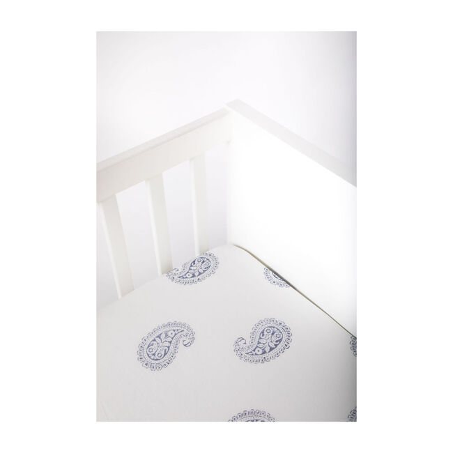 Block-Printed Cotton Fitted Crib Sheet, Fort