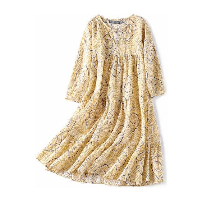 Block-Printed Bohemian Dress, Yellow