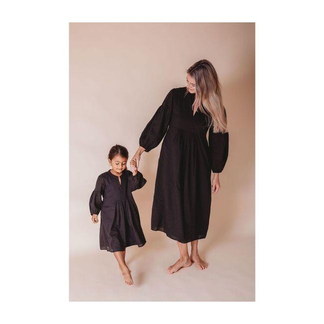 Brush-Stroked Bohemian Dress, Black