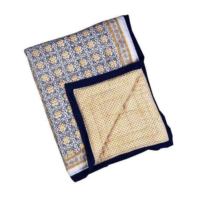 Block-Printed Cotton Crib Quilt, Seminyak Blue