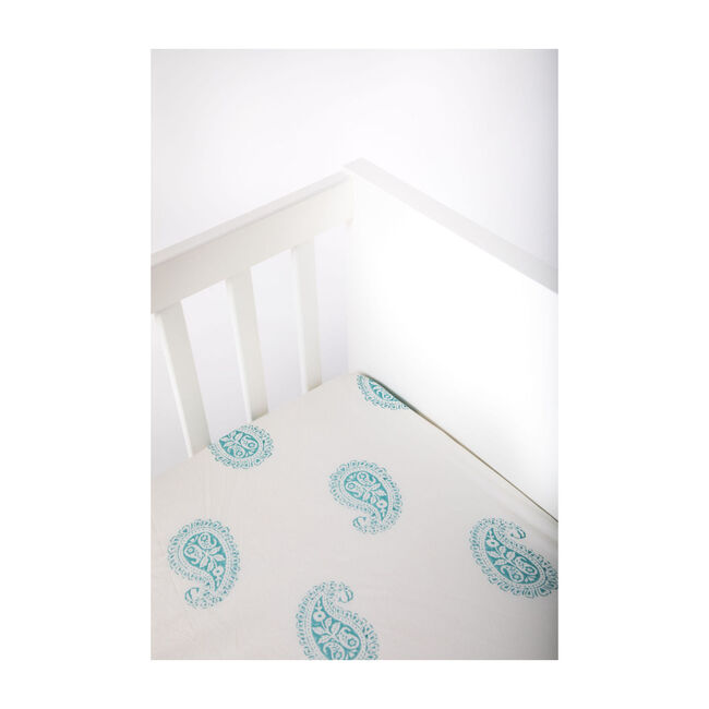 Block-Printed Cotton Fitted Crib Sheet, Teal Paisley