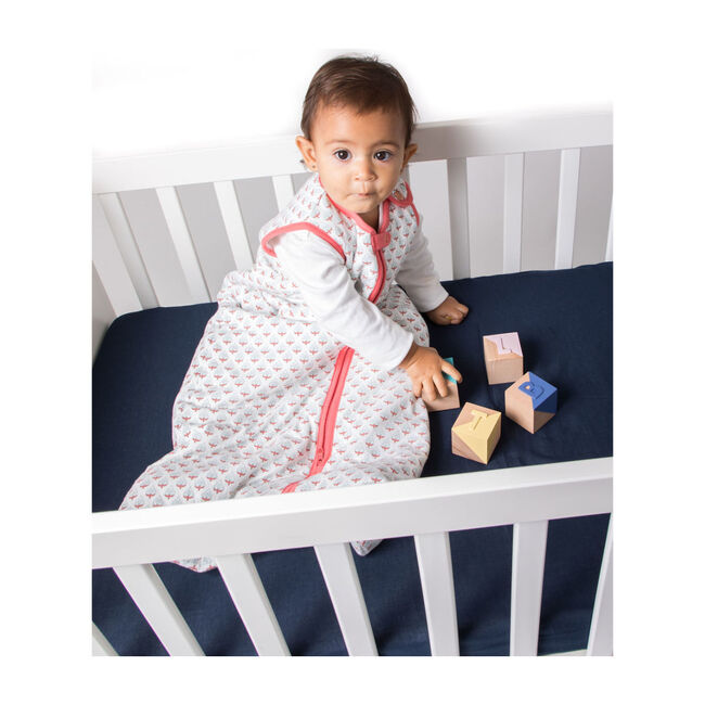 Brush-Stroked Cotton Fitted Crib Sheet, Southside Blue