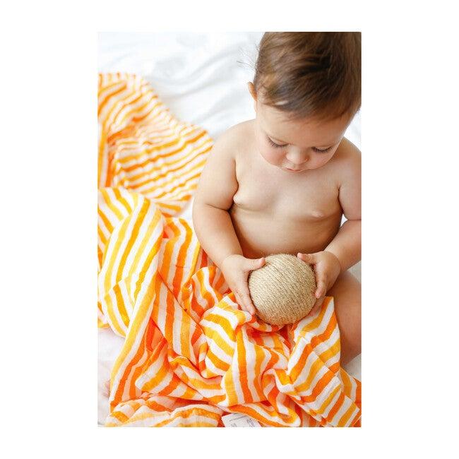 Organic Cotton Muslin Swaddle, Orange Stripe