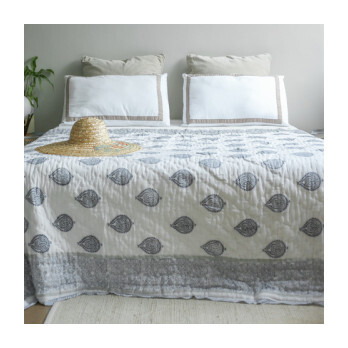 Block-Printed Cotton Quilt, Fort