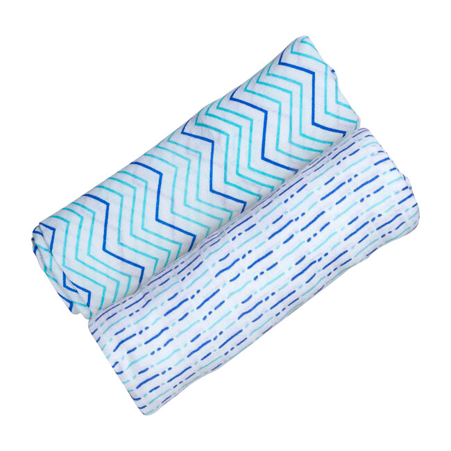 Organic Muslin Swaddle Gift Set, Shades of Blue