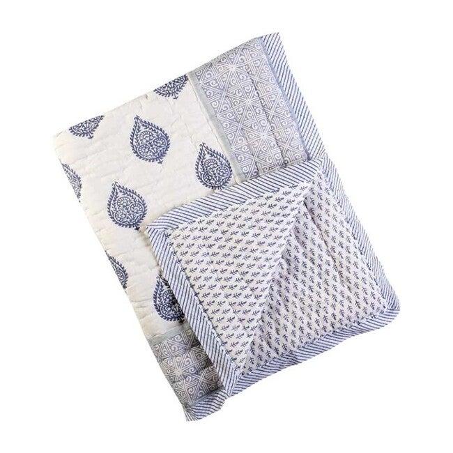 Block-Printed Cotton Crib Quilt, Fort