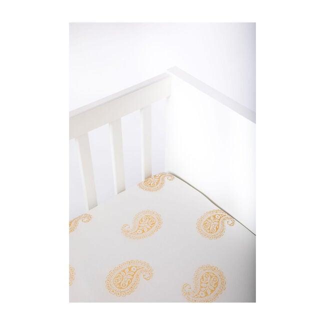 Block-Printed Cotton Fitted Crib Sheet, Mustard Paisley