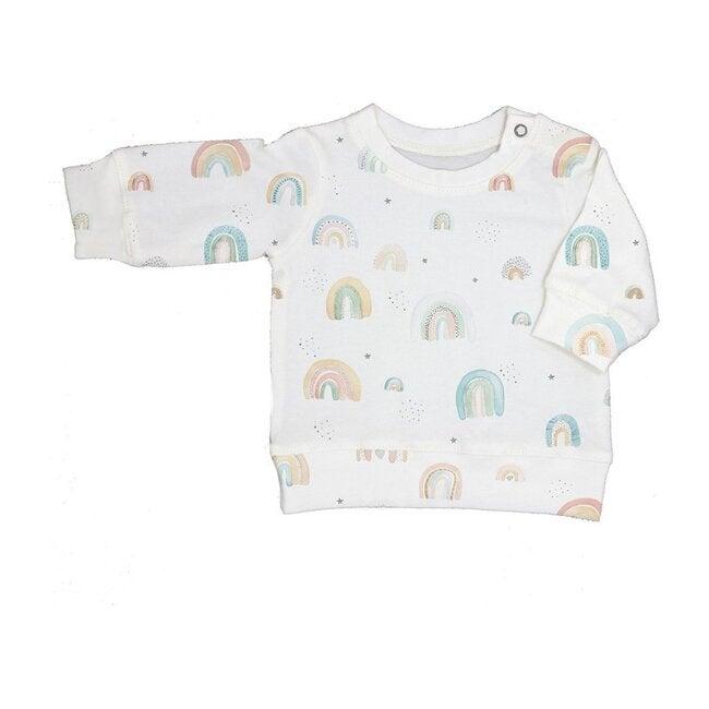Rainbow Print Sweater, Cream