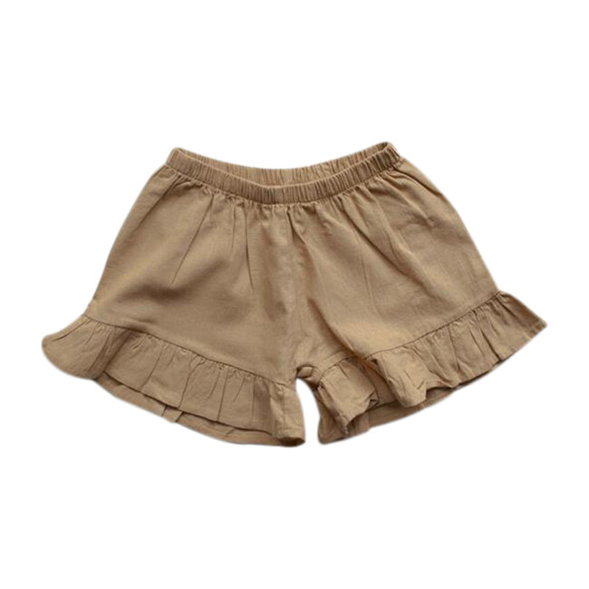 The Frill Linen Short, Camel