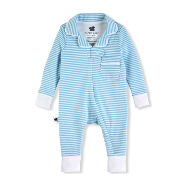 Classic Footless Pajama Onesie, Blue Stripe