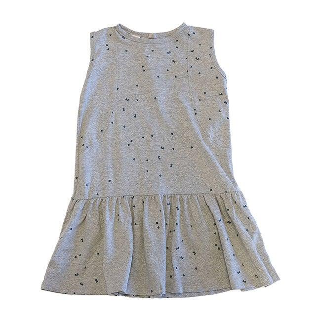 Drop Waist Dress, Logo Print Grey