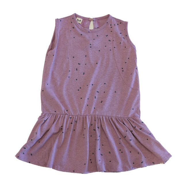 Drop Waist Dress, Logo Print Lilac