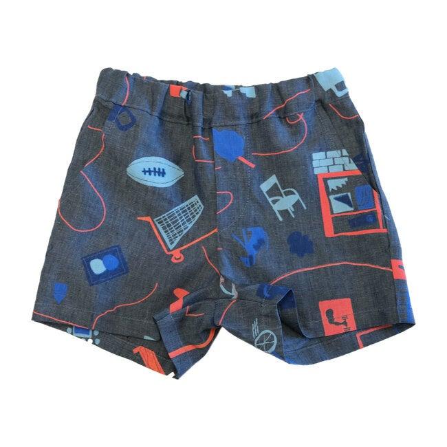 Easy Shorts, City Print Blue