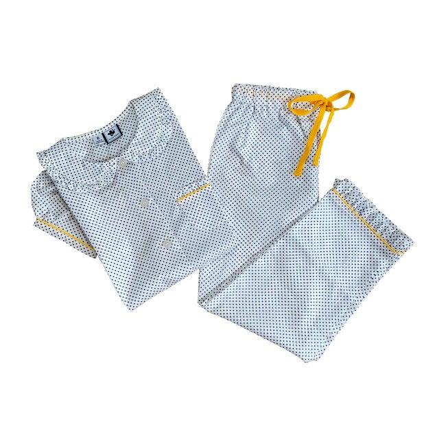Ruffle Sleeve Loungewear Set, Blue Polka Dot