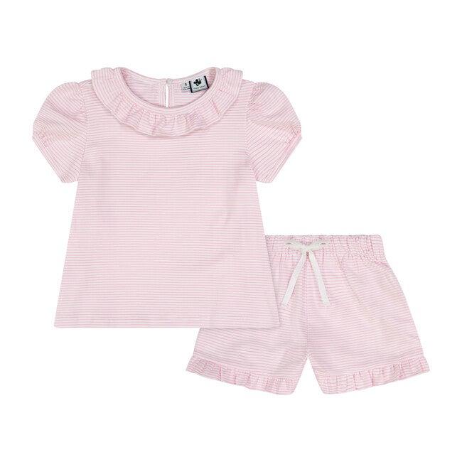 Fiona Ruffle 2 Piece Knit Lounge Set, Light Pink & White Stripe