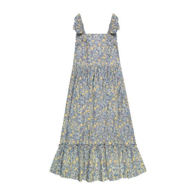 Queen B Jacqueline Women's Flutter Sleeve Maxi Dress, Blue Spring Floral