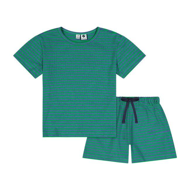 Oliver Short Sleeve 2 Piece Knit Lounge Set, Green & Blue Stripe