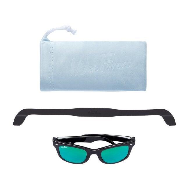 Polarized Sunglasses, Black with Sea Green