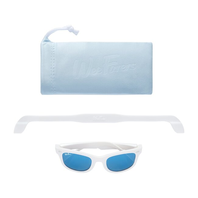 Polarized Sunglasses, White with Sky Blue