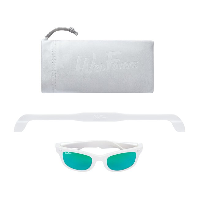Polarized Sunglasses, White with Sea Green