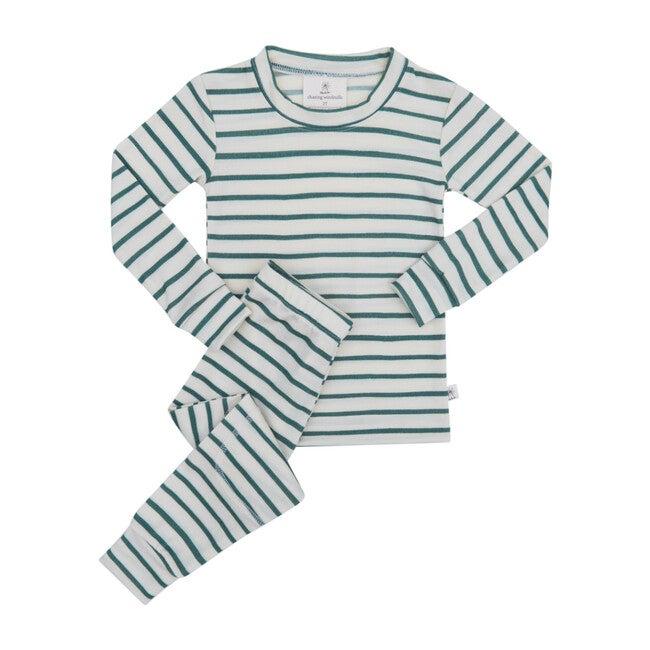 Merino Wool Long Johns, Spruce Stripe