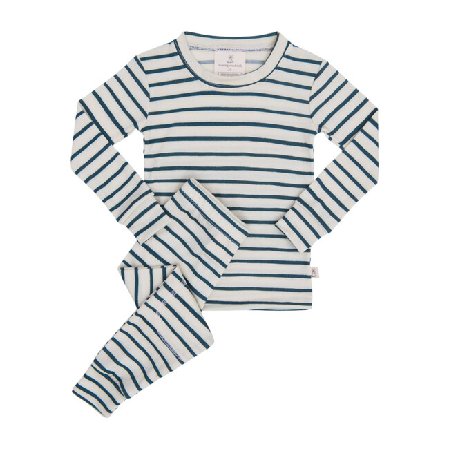 Merino Wool Long Johns, Baltic Stripe