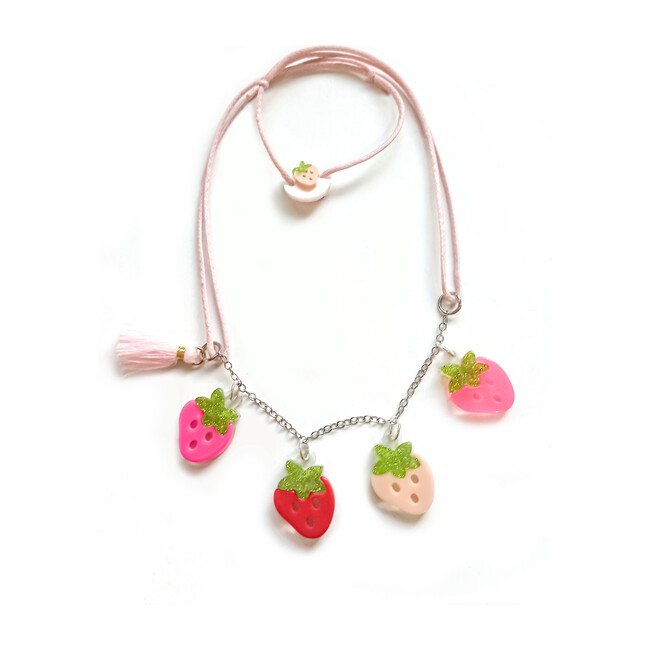 Multi Strawberry Pink Red Necklace - Necklaces - 1