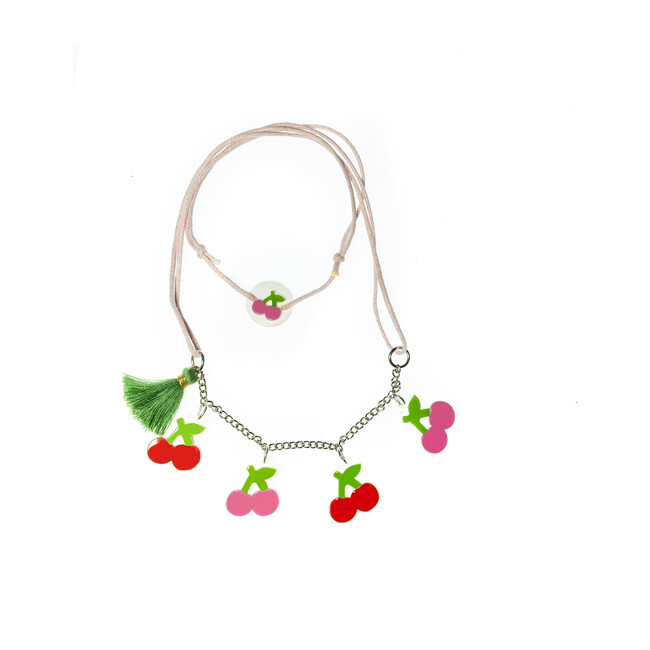 Multi Cherry Pink Red Necklace