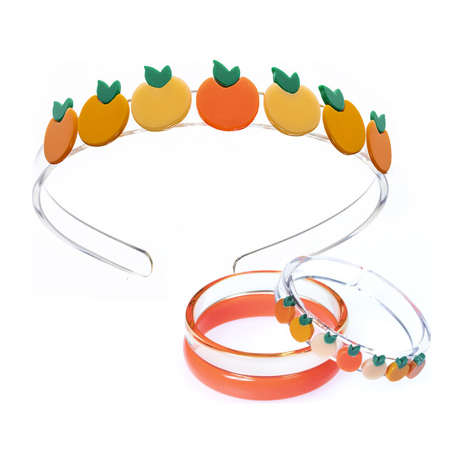 Multi Orange Headband and Bracelet Bundle