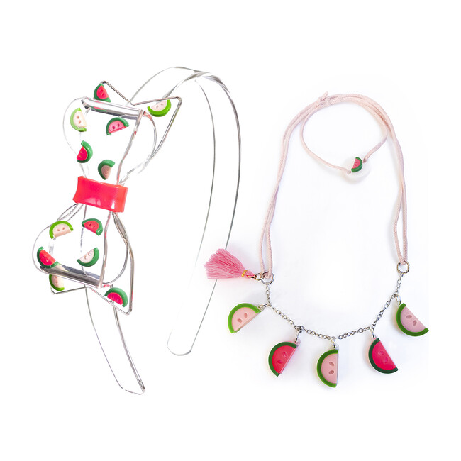 Fat Bow Watermelon Headband and Necklace Bundle